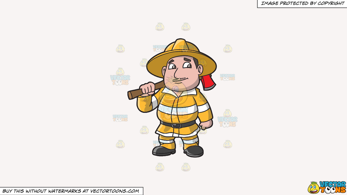 A Chubby Firefighter With An Ax On A Solid White Smoke F7f4f3 Background thumbnail