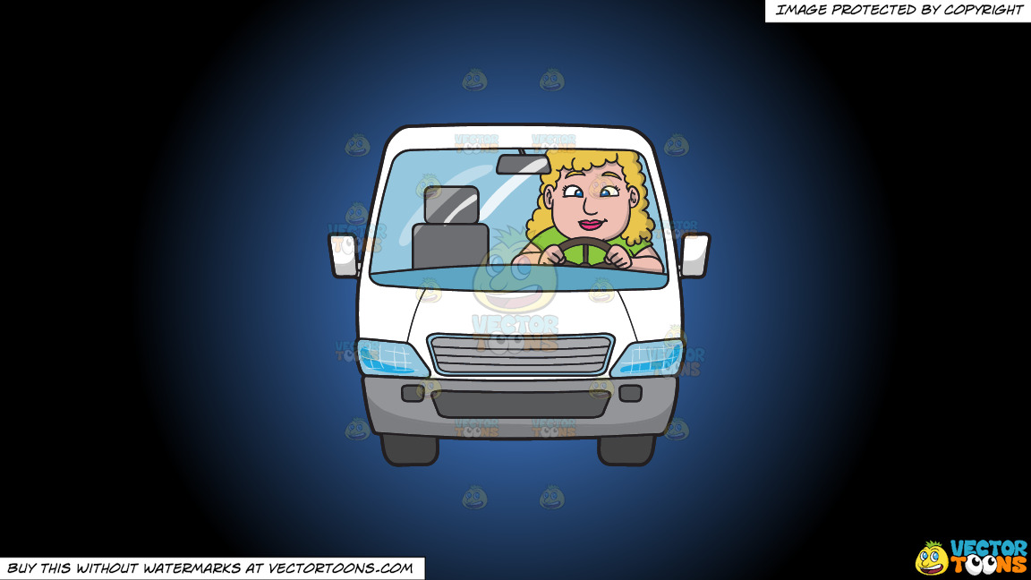 A Chubby Woman Driving A White Family Van On A Blue And Black Gradient Background thumbnail