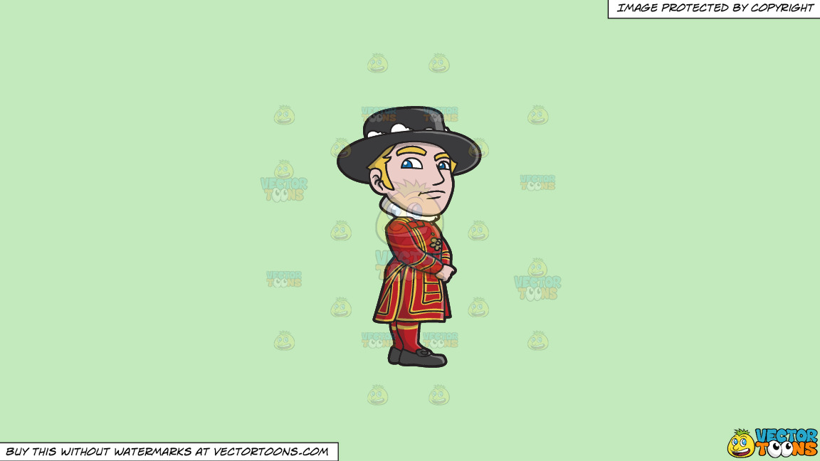 A Classy Yeoman Guard On A Solid Tea Green C2eabd Background thumbnail