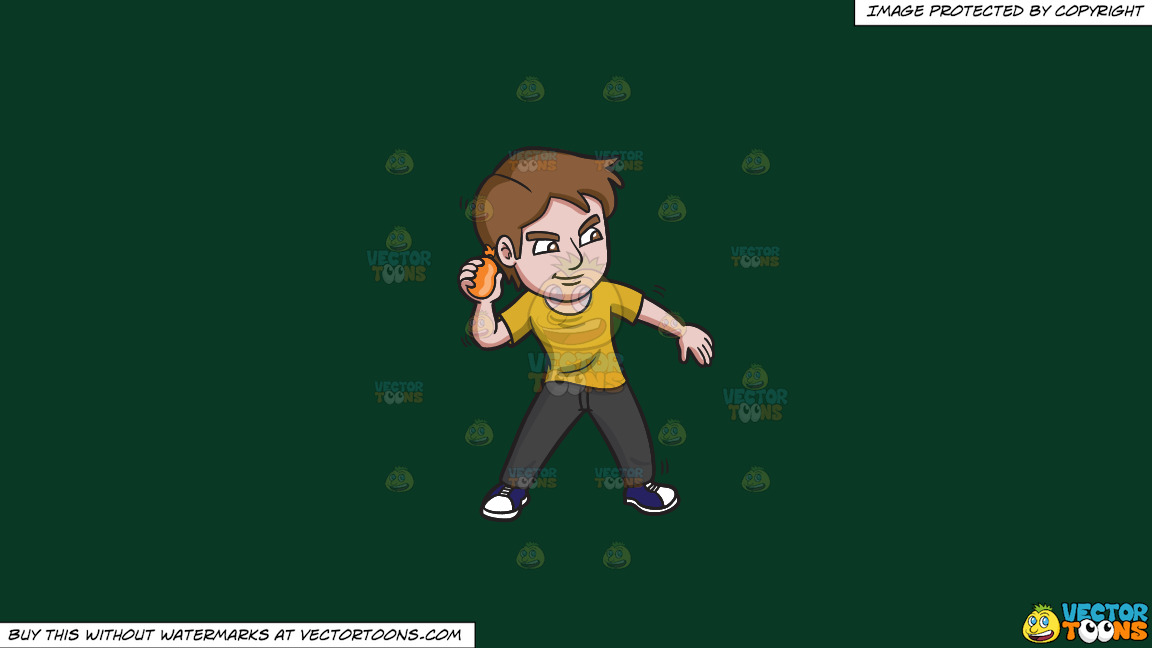 A Clever Man Throwing A Water Balloon On A Solid Dark Green 093824 Background thumbnail
