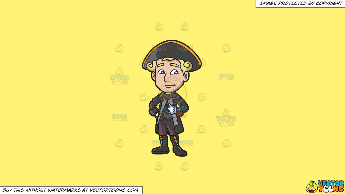 A Colonial Man In His Dashing Clothes On A Solid Sunny Yellow Fff275 Background thumbnail