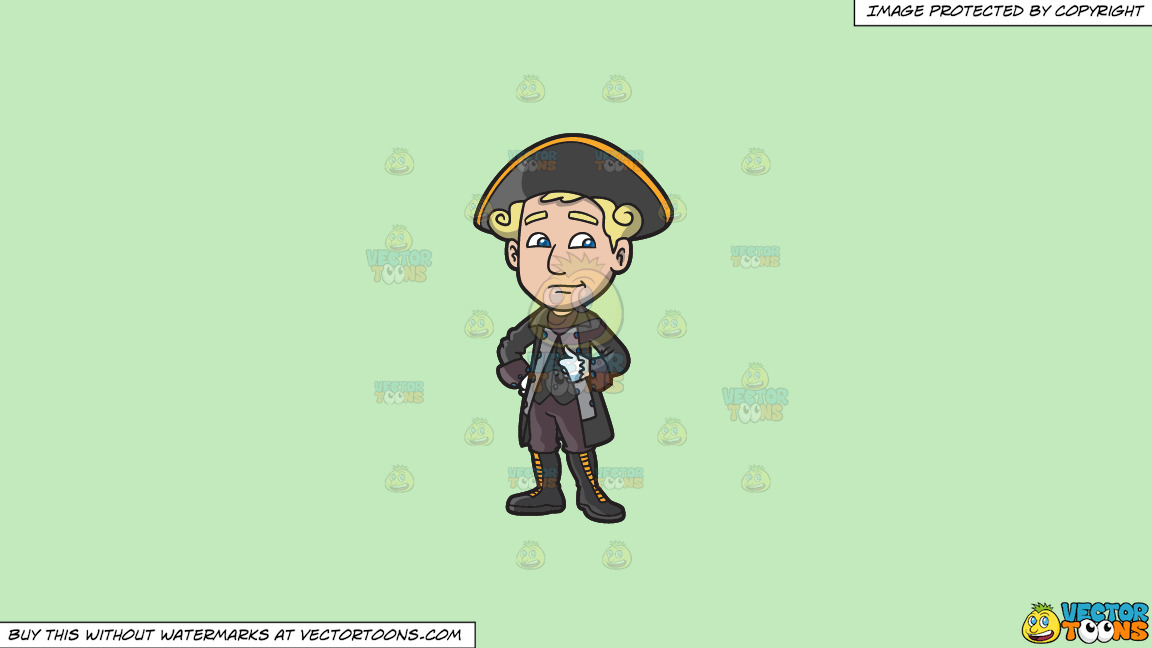 A Colonial Man In His Dashing Clothes On A Solid Tea Green C2eabd Background thumbnail
