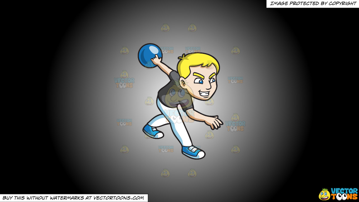 A Competitive And Sporty Guy Enjoys A Game Of Bowling On A White And Black Gradient Background thumbnail