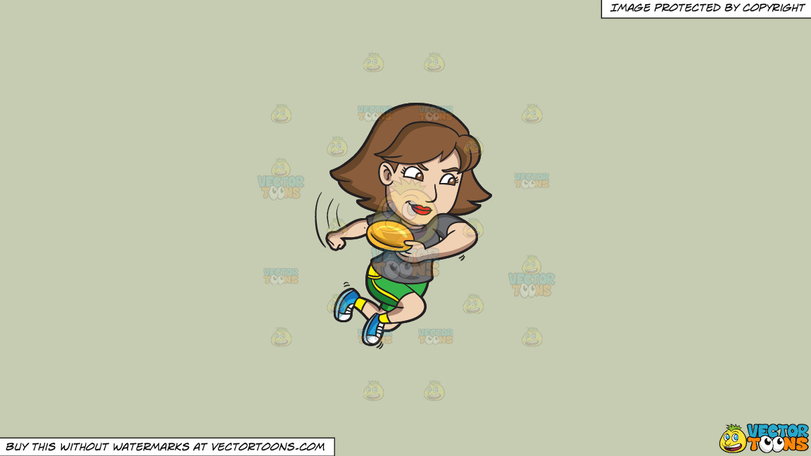 A Competitive Woman Aims To Throw A Frisbee On A Solid Pale Silver C6ccb2 Background thumbnail