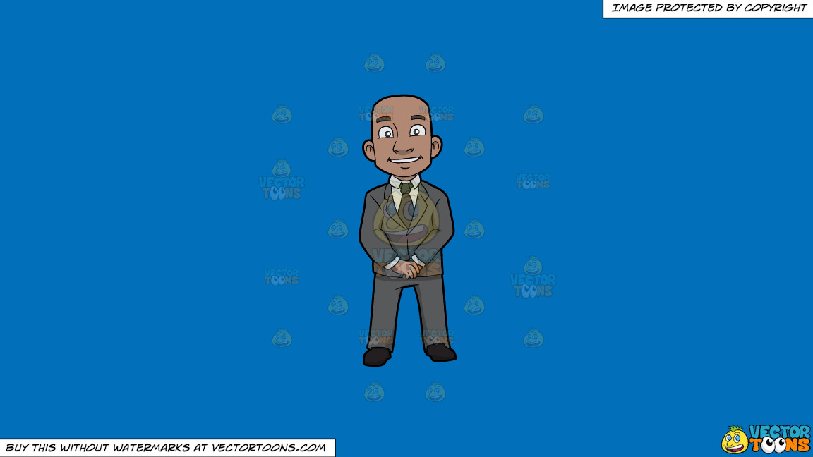A Confident Black Bald Guy On A Solid Spanish Blue 016fb9 Background thumbnail
