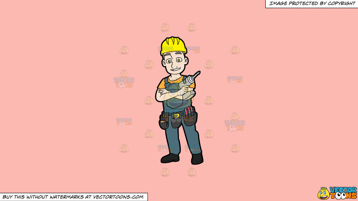 A Confident Construction Worker With A Drill On A Solid Melon Fcb9b2 Background thumbnail