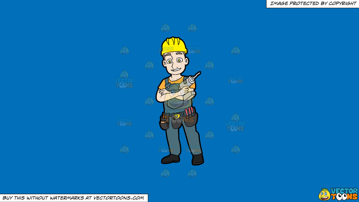 A Confident Construction Worker With A Drill On A Solid Spanish Blue 016fb9 Background thumbnail