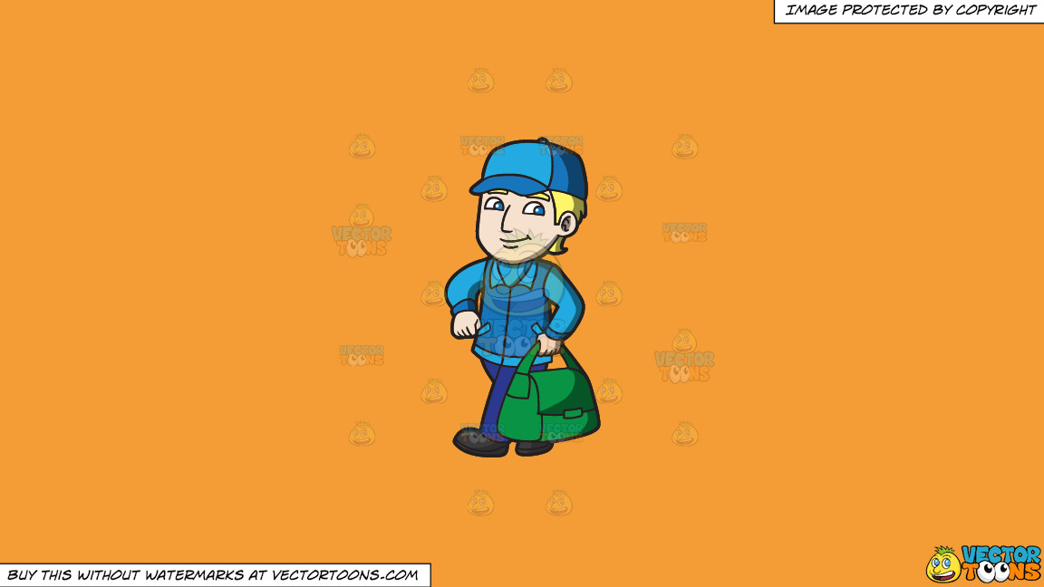 A Confident Delivery Guy On A Solid Deep Saffron Gold F49d37 Background thumbnail