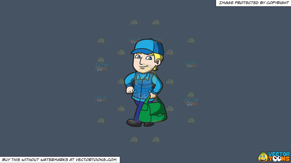 A Confident Delivery Guy On A Solid Metal Grey 465362 Background thumbnail