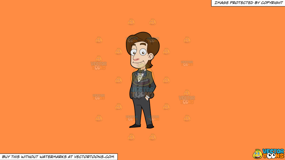 A Confident Groom On A Solid Mango Orange Ff8c42 Background thumbnail