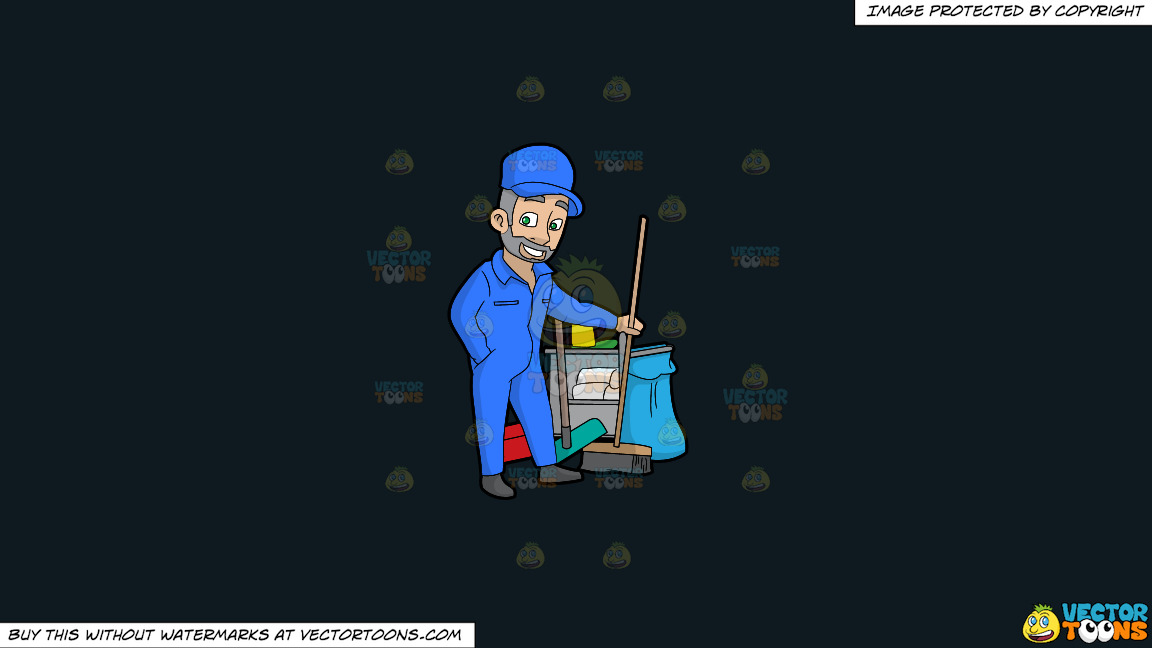 A Confident Male Janitor Holding A Broom On A Solid Off Black 0f1a20 Background thumbnail