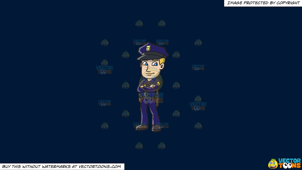 A Confident Police Officer On A Solid Dark Blue 011936 Background thumbnail