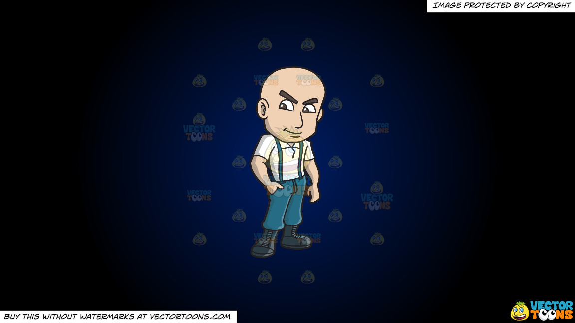 A Confident Skinhead With One Hand In His Pocket On A Dark Blue And Black Gradient Background thumbnail