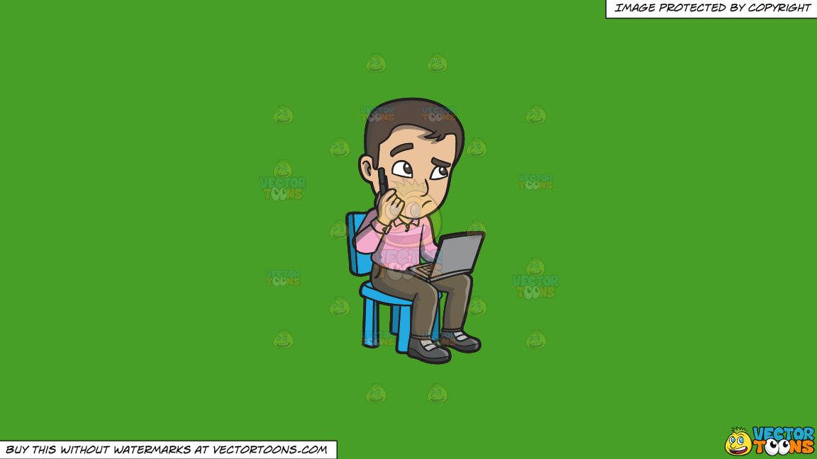 A Confused Man Using A Laptop On A Solid Kelly Green 47a025 Background thumbnail
