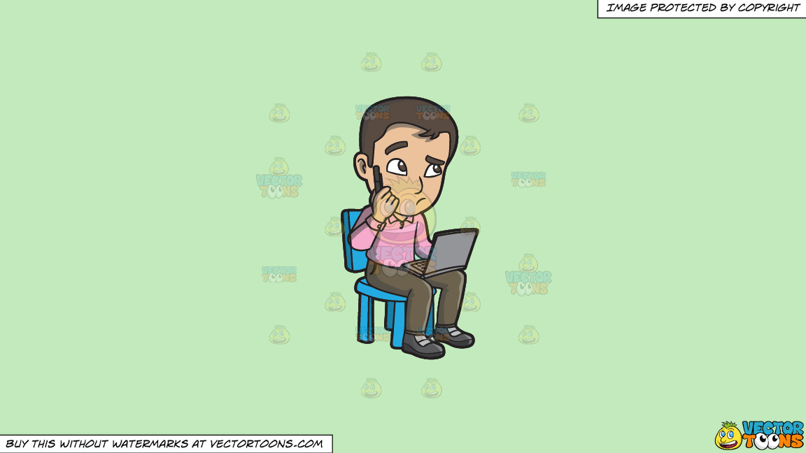 A Confused Man Using A Laptop On A Solid Tea Green C2eabd Background thumbnail