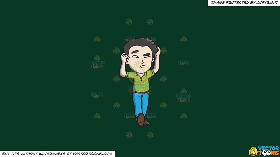 A Confused Oriental Man On A Solid Dark Green 093824 Background thumbnail