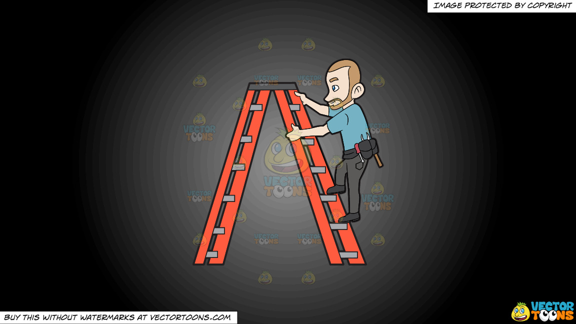 A Construction Worker Climbing Up The Ladder On A Grey And Black Gradient Background thumbnail