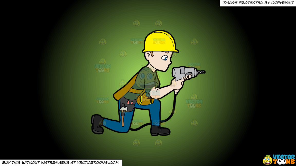 A Construction Worker Drilling A Hole In The Wall On A Green And Black Gradient Background thumbnail