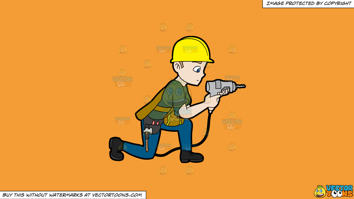 A Construction Worker Drilling A Hole In The Wall On A Solid Deep Saffron Gold F49d37 Background thumbnail