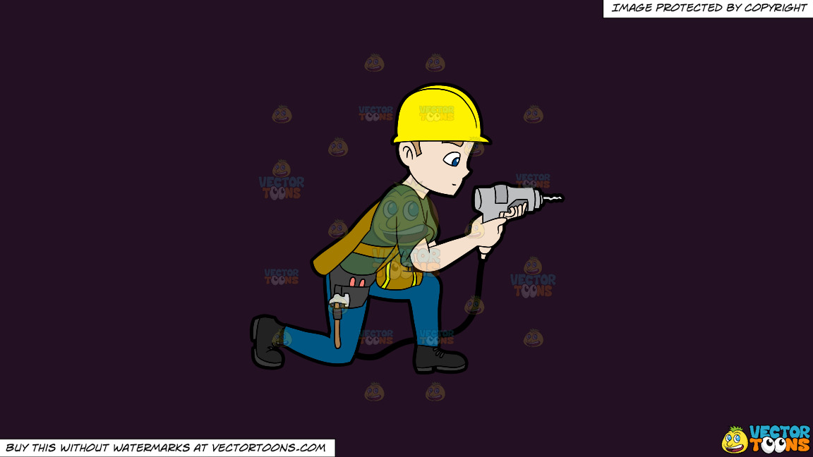 A Construction Worker Drilling A Hole In The Wall On A Solid Purple Rasin 241023 Background thumbnail