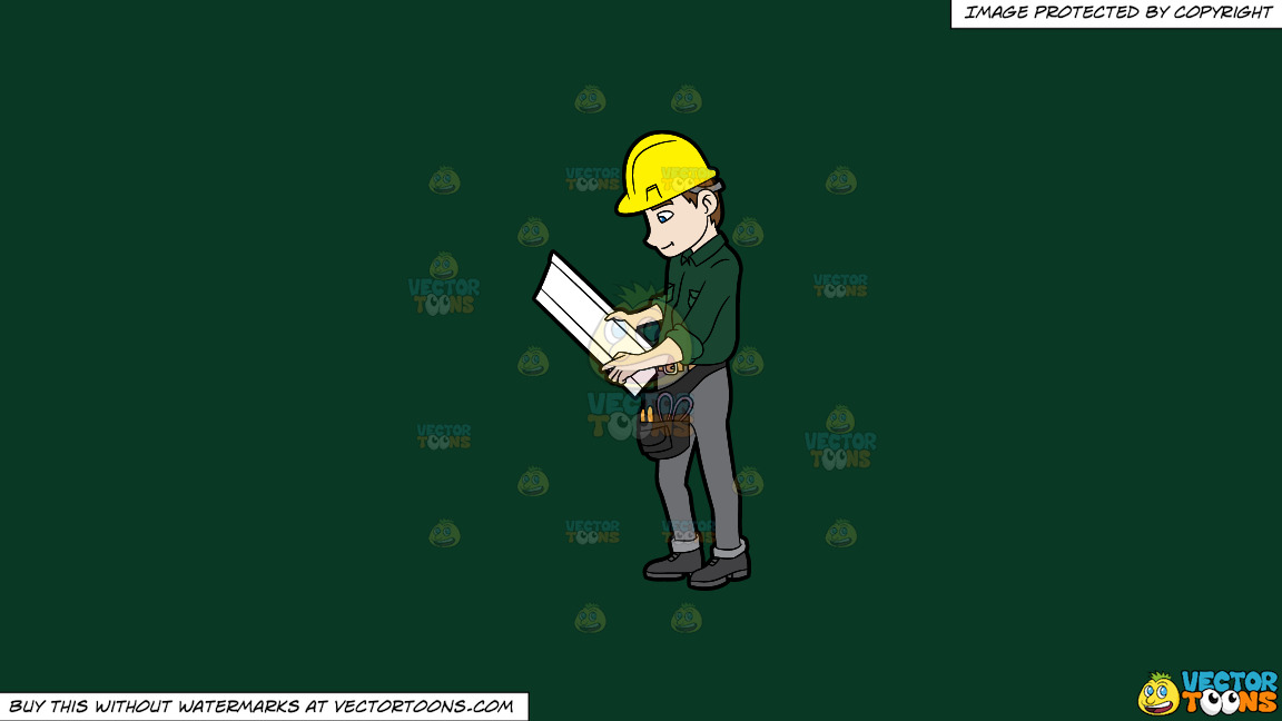 A Construction Worker Examining A Set Of Blueprints On A Solid Dark Green 093824 Background thumbnail