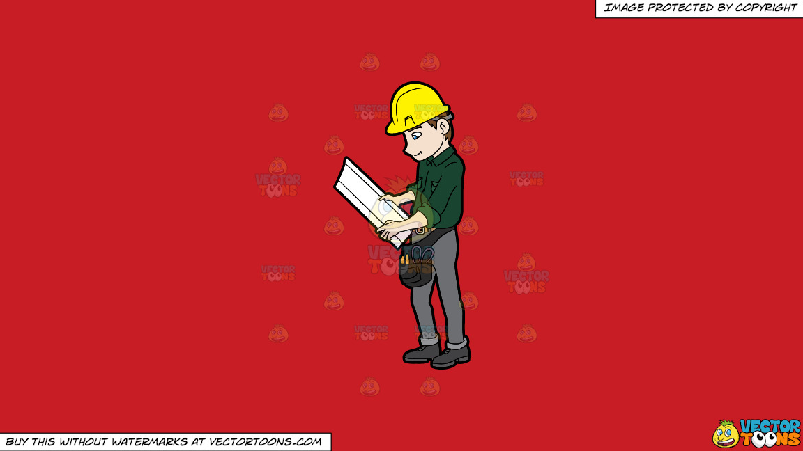 A construction worker examining a set of blueprints on a solid fire a construction worker examining a set of blueprints on a solid fire engine red c81d25 background malvernweather Gallery