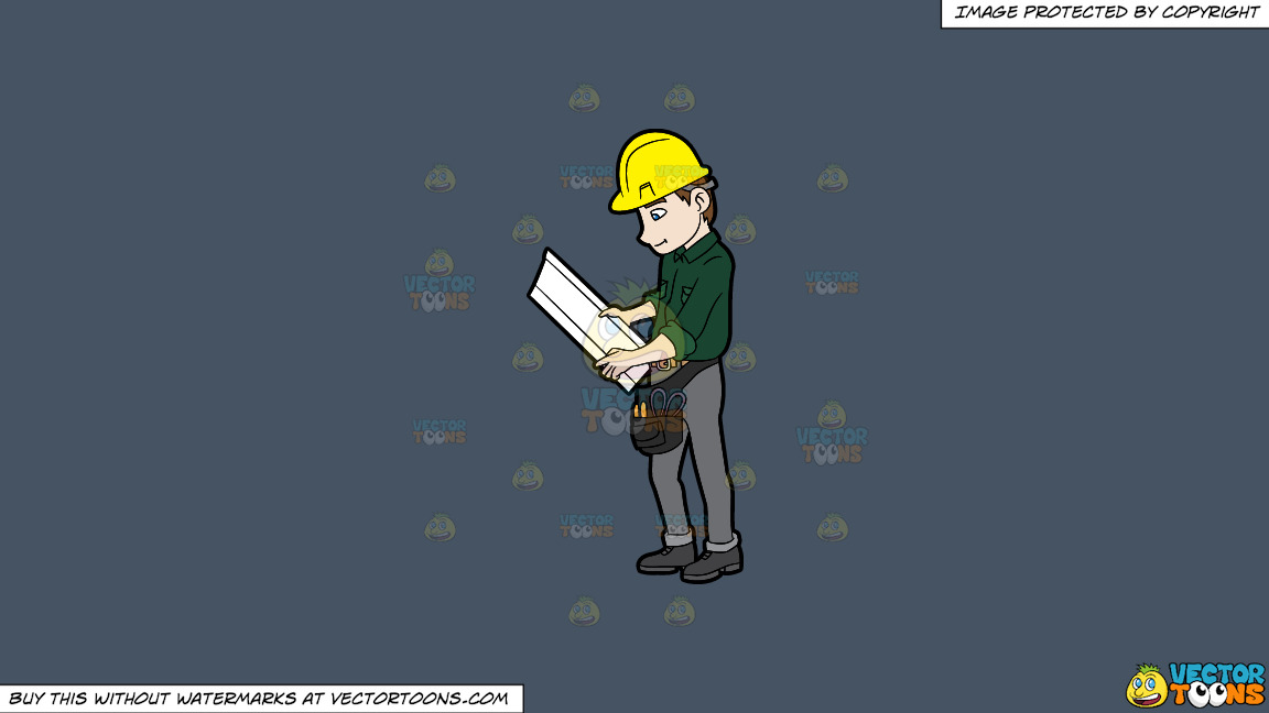 A Construction Worker Examining A Set Of Blueprints On A Solid Metal Grey 465362 Background thumbnail