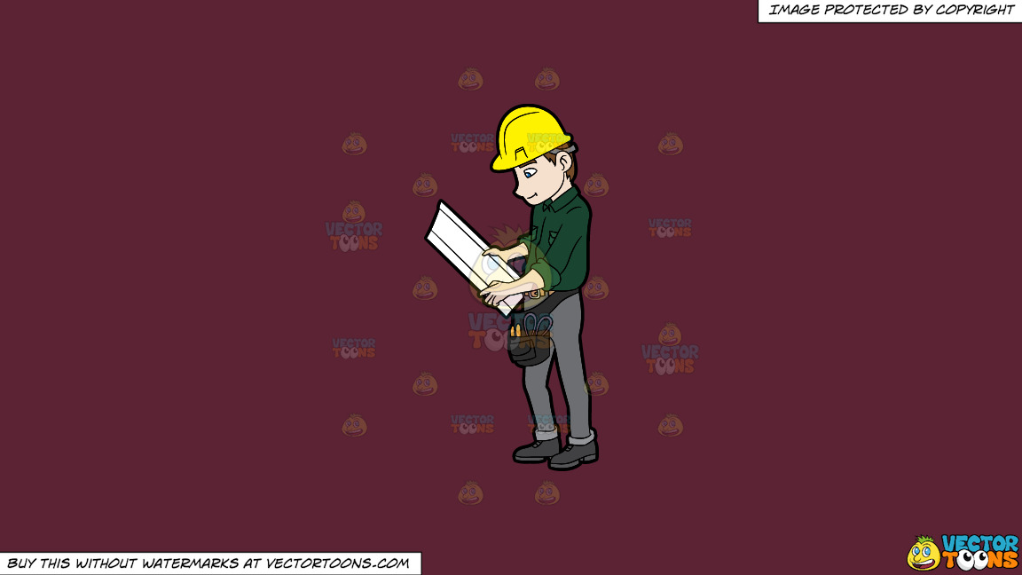 A Construction Worker Examining A Set Of Blueprints On A Solid Red Wine 5b2333 Background thumbnail