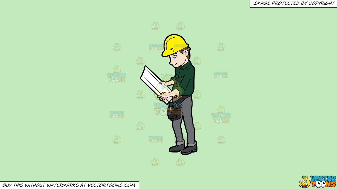 A construction worker examining a set of blueprints on a solid tea a construction worker examining a set of blueprints on a solid tea green c2eabd background thumbnail malvernweather Gallery