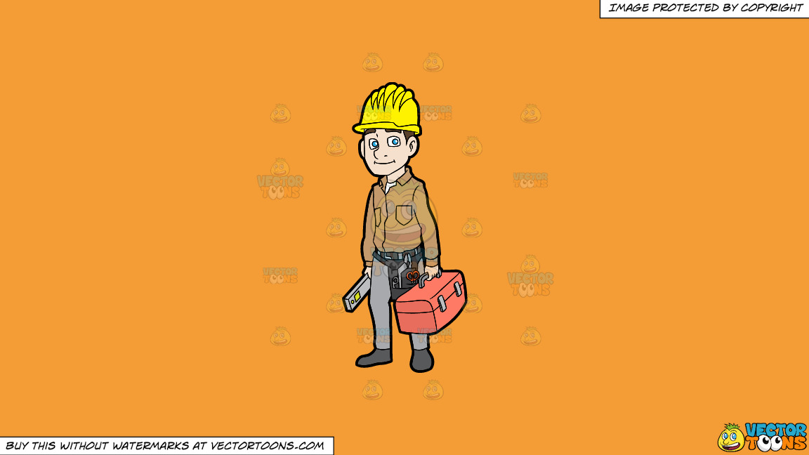 A Construction Worker On His Way To Work On A Solid Deep Saffron Gold F49d37 Background thumbnail
