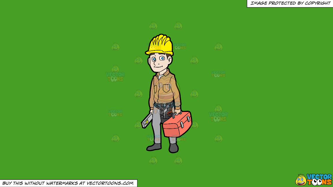 A Construction Worker On His Way To Work On A Solid Kelly Green 47a025 Background thumbnail