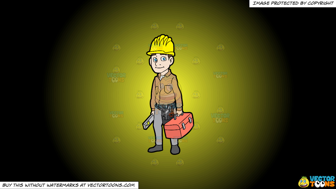 A Construction Worker On His Way To Work On A Yellow And Black Gradient Background thumbnail