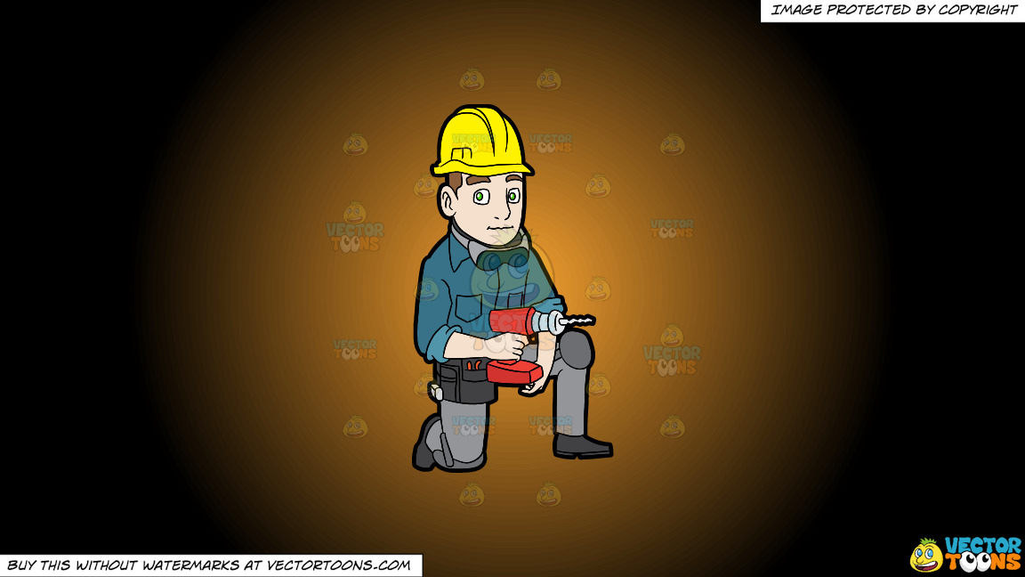 A Construction Worker With A Wireless Drill On A Orange And Black Gradient Background thumbnail