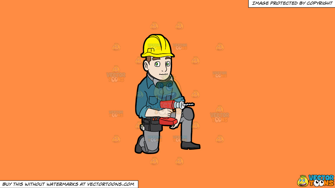 A Construction Worker With A Wireless Drill On A Solid Mango Orange Ff8c42 Background thumbnail