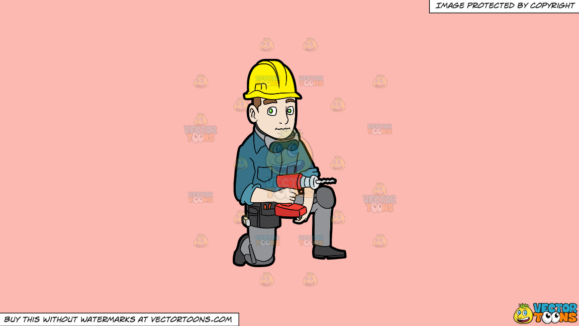 A Construction Worker With A Wireless Drill On A Solid Melon Fcb9b2 Background thumbnail