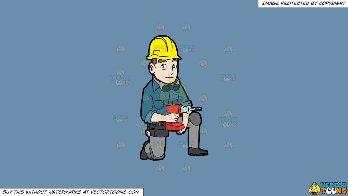 A Construction Worker With A Wireless Drill On A Solid Shadow Blue 6c8ead Background thumbnail