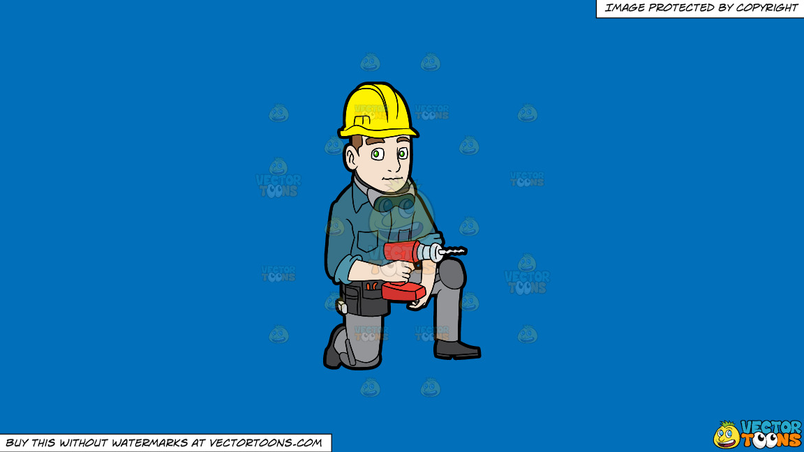 A Construction Worker With A Wireless Drill On A Solid Spanish Blue 016fb9 Background thumbnail