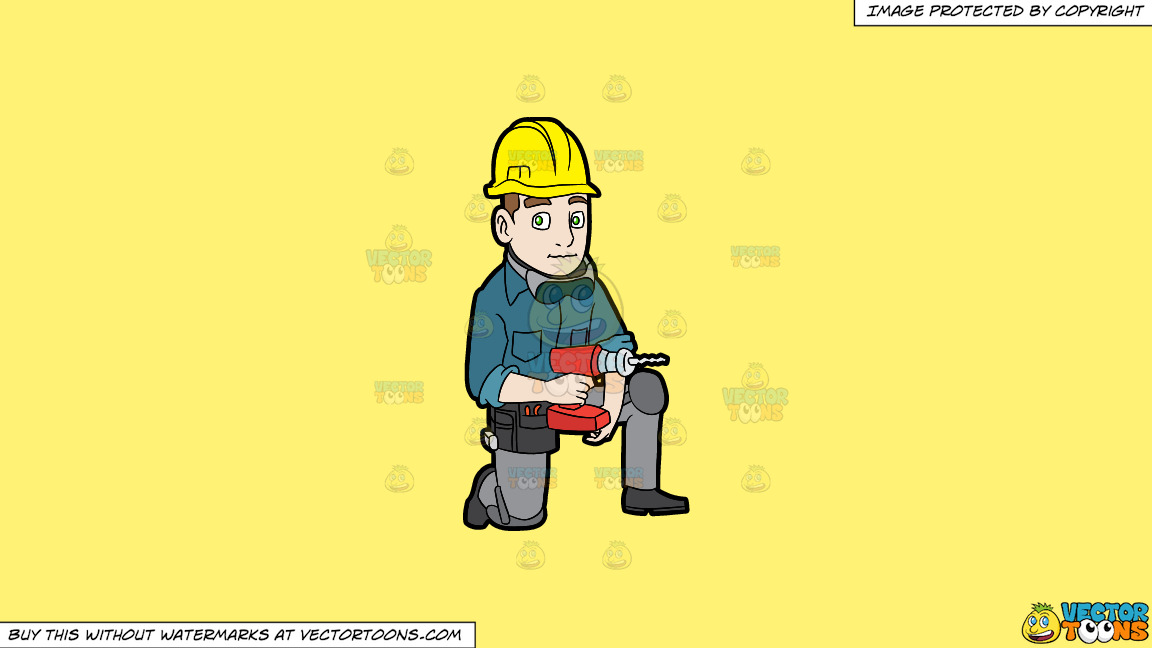A Construction Worker With A Wireless Drill On A Solid Sunny Yellow Fff275 Background thumbnail