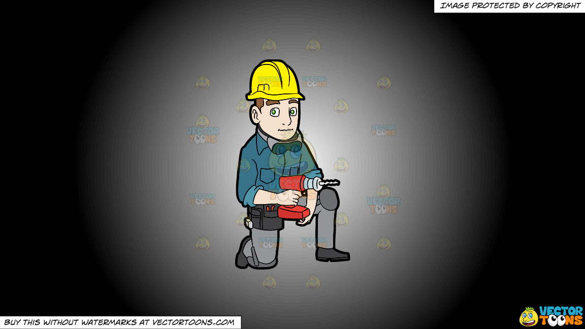 A Construction Worker With A Wireless Drill On A White And Black Gradient Background thumbnail