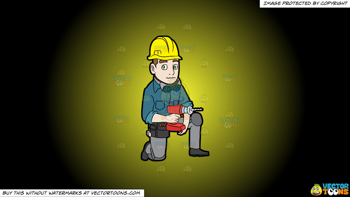 A Construction Worker With A Wireless Drill On A Yellow And Black Gradient Background thumbnail