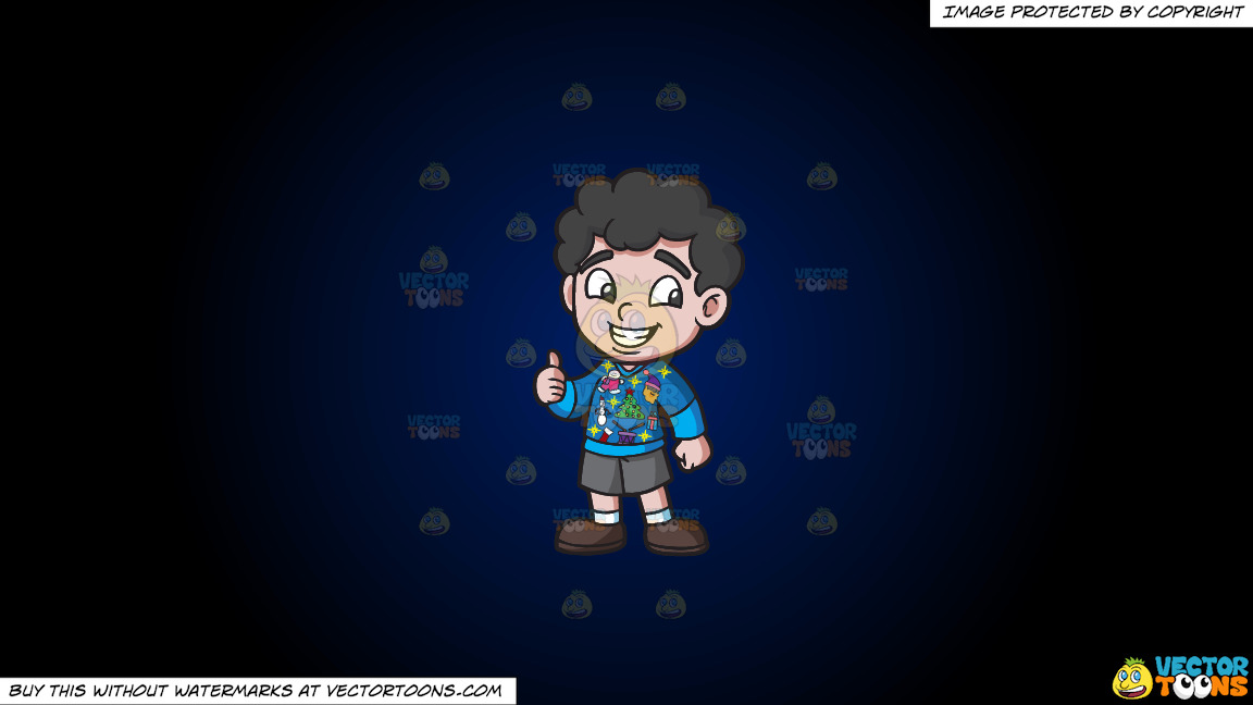 A Contented Boy In An Ugly Christmas Sweater On A Dark Blue And Black Gradient Background thumbnail