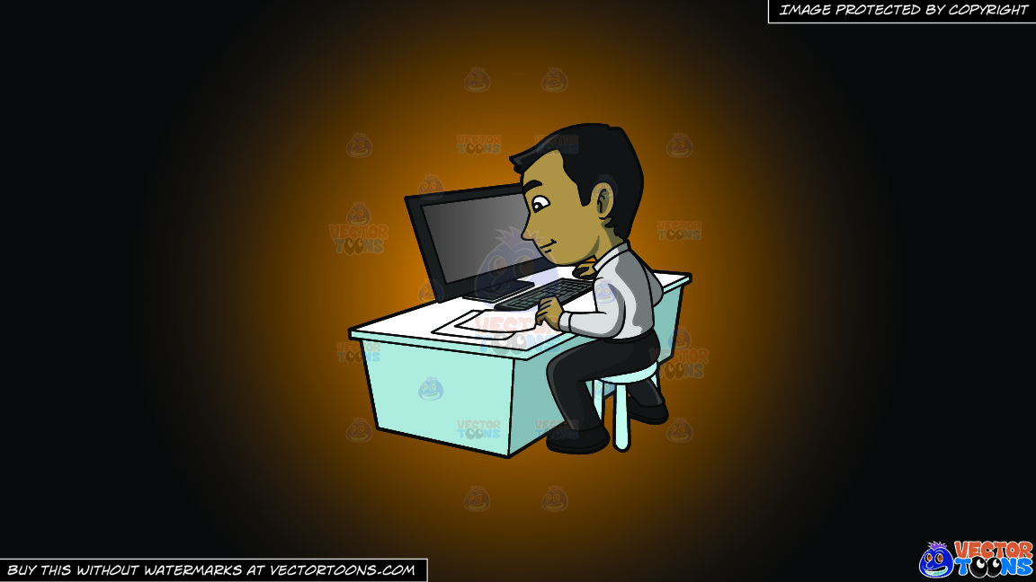 A Contented Guy Entering Data Into His Computer On A Orange And Black Gradient Background thumbnail