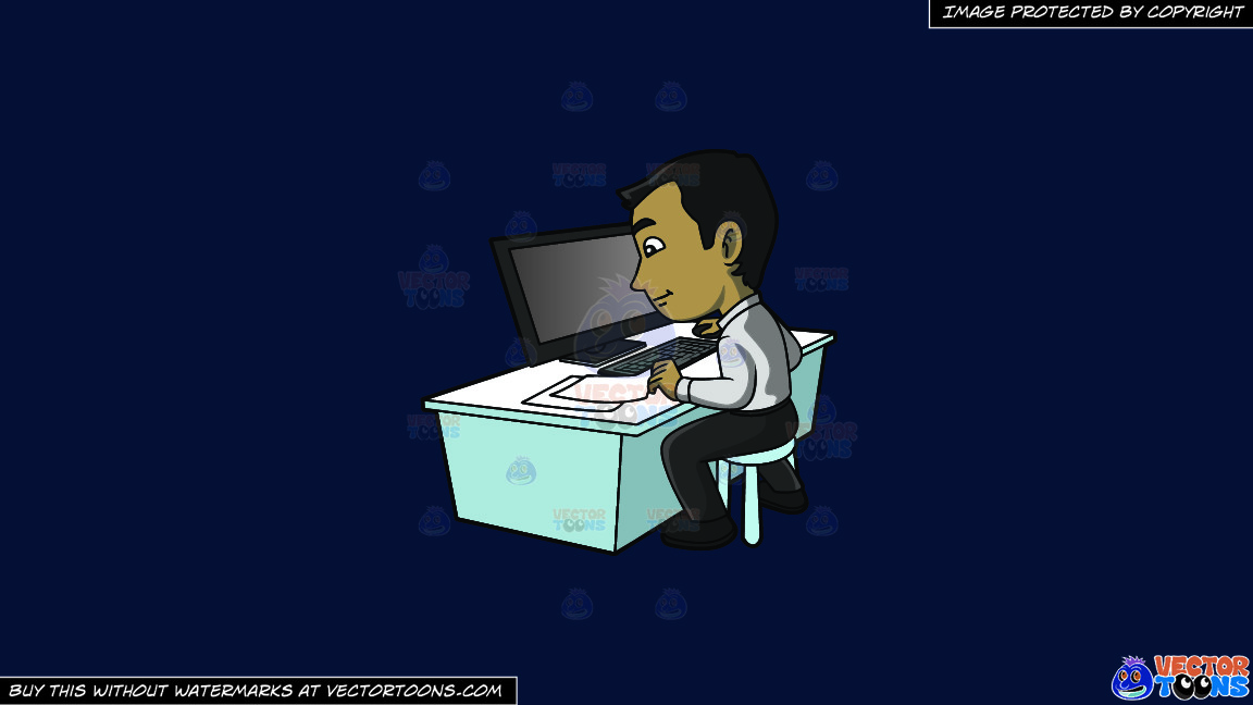 A Contented Guy Entering Data Into His Computer On A Solid Dark Blue 011936 Background thumbnail