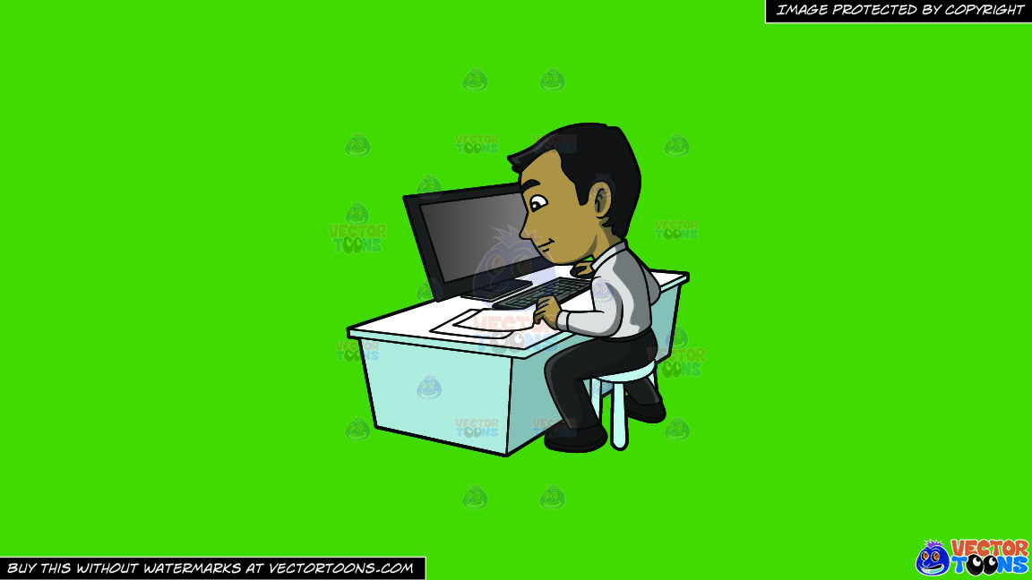 A Contented Guy Entering Data Into His Computer On A Solid Kelly Green 47a025 Background thumbnail