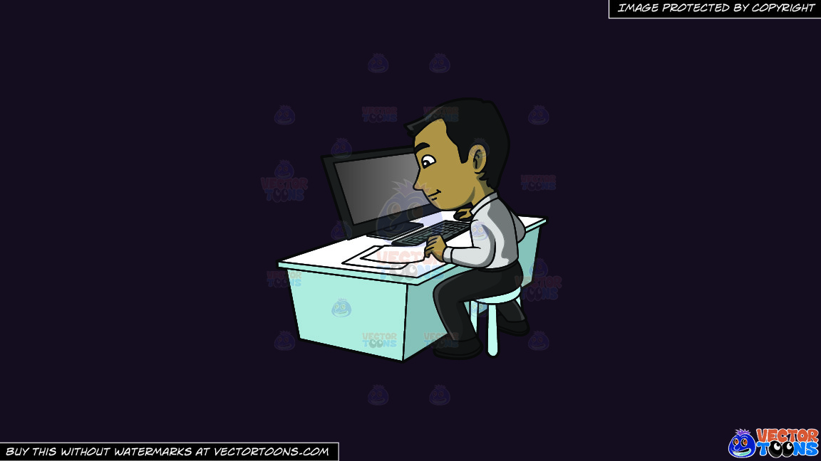 A Contented Guy Entering Data Into His Computer On A Solid Purple Rasin 241023 Background thumbnail