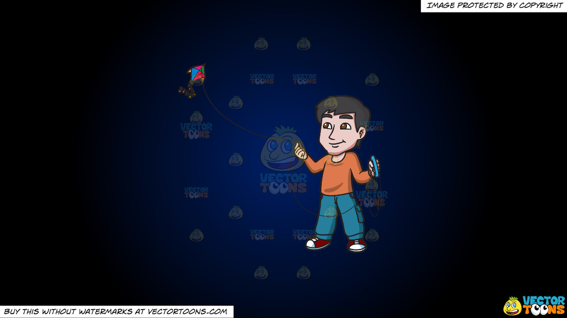 A Contented Guy Flying A Kite On A Dark Blue And Black Gradient Background thumbnail