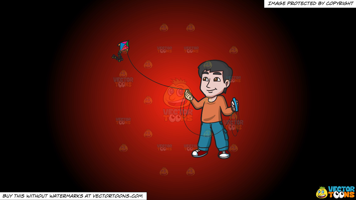 A Contented Guy Flying A Kite On A Red And Black Gradient Background thumbnail