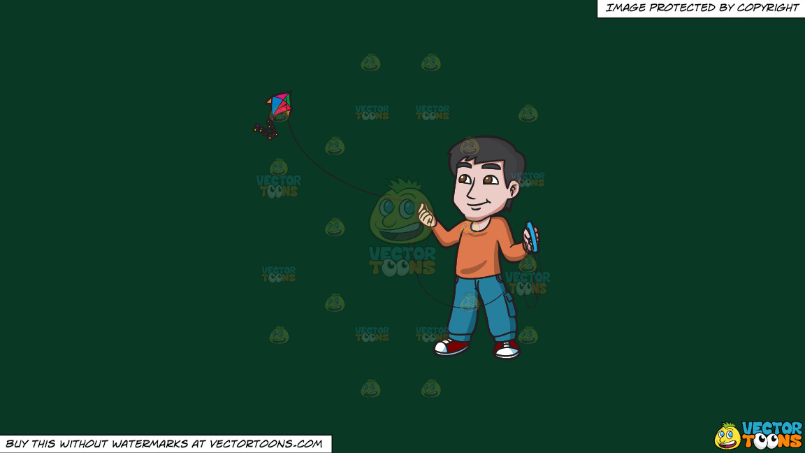 A Contented Guy Flying A Kite On A Solid Dark Green 093824 Background thumbnail