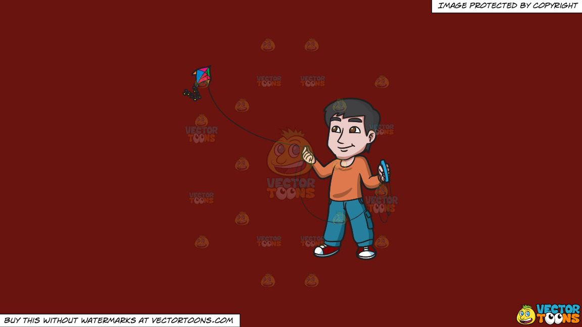 A Contented Guy Flying A Kite On A Solid Maroon 69140e Background thumbnail