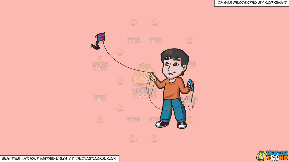 A Contented Guy Flying A Kite On A Solid Melon Fcb9b2 Background thumbnail